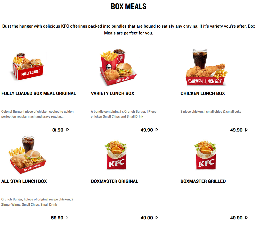 KFC Menu Prices & Specials